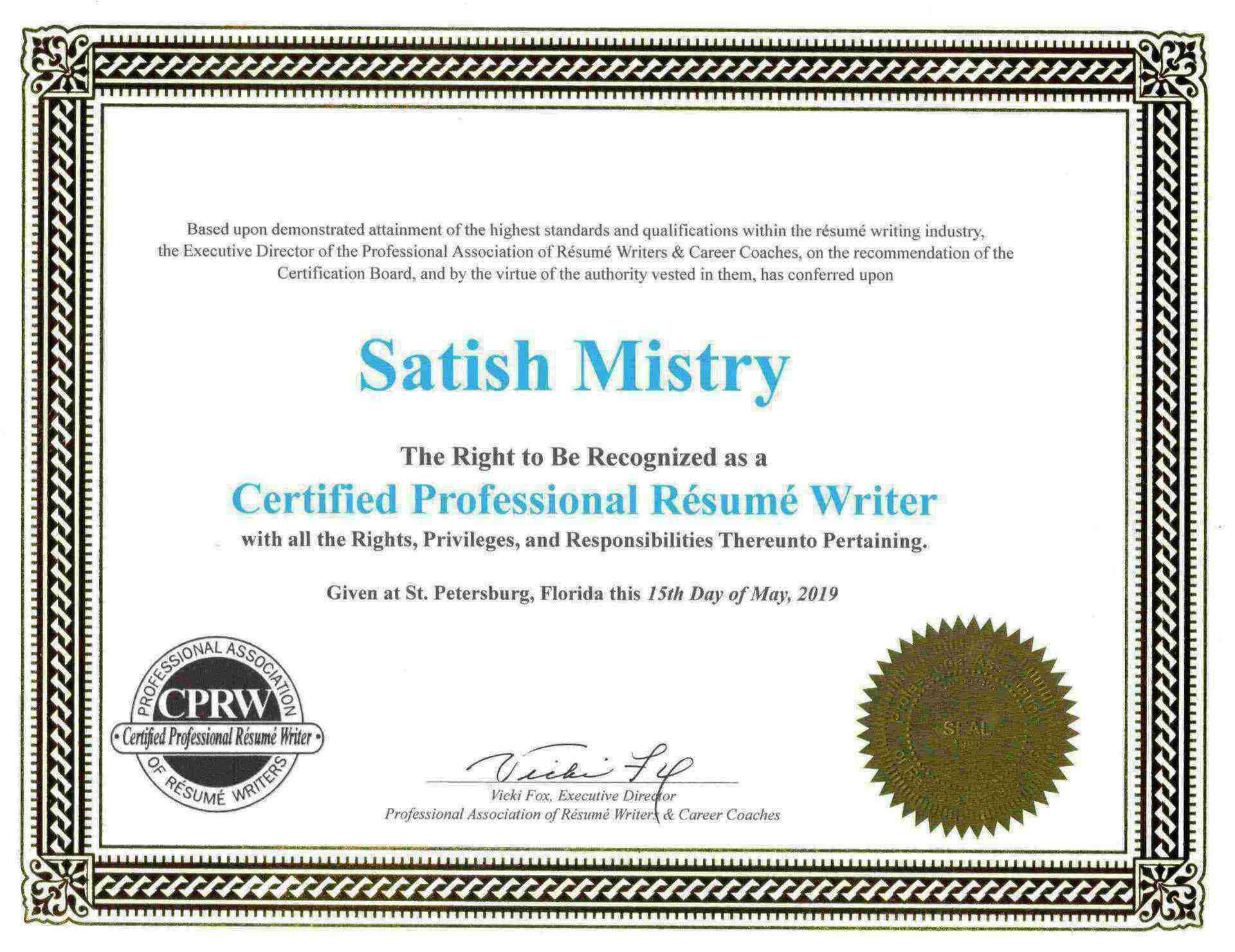 CPRW Certificate Certified Professional Resume Writer